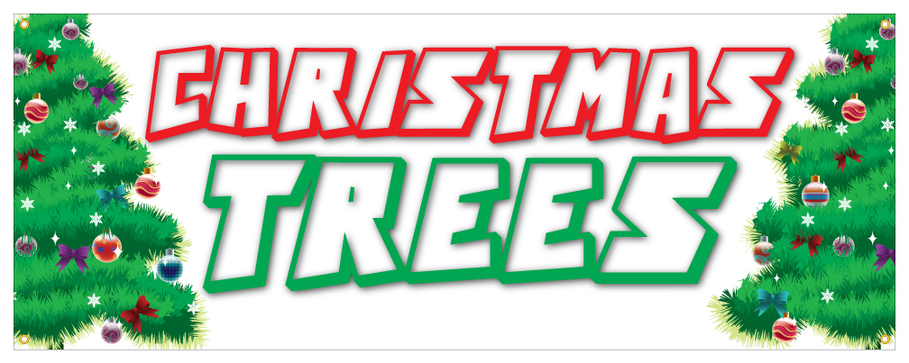 Christmas tree banner fresh smells holiday lights ornaments retail