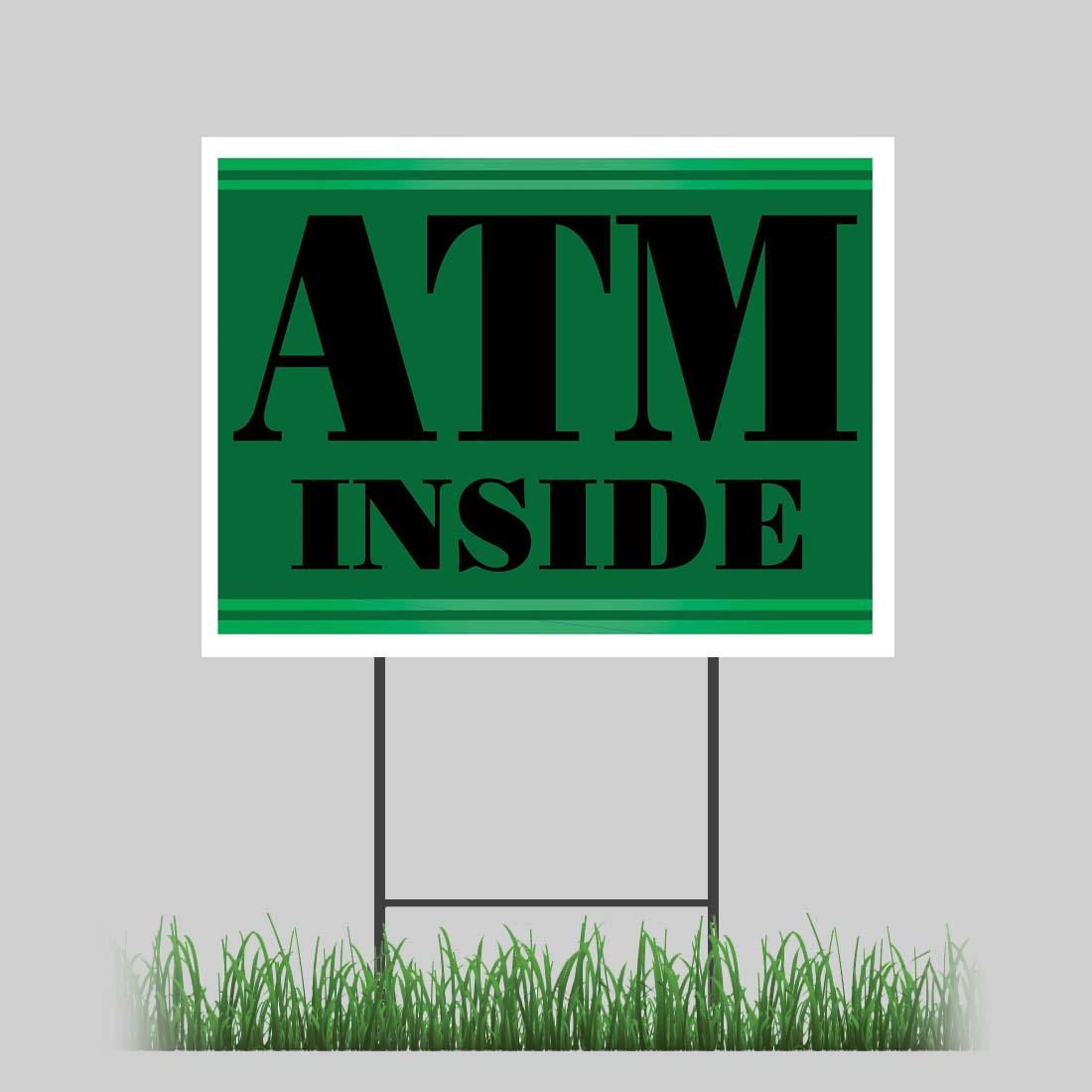 18 x24 atm inside 2 yard sign retail store business bank card vinyl yard sign ebay. Black Bedroom Furniture Sets. Home Design Ideas