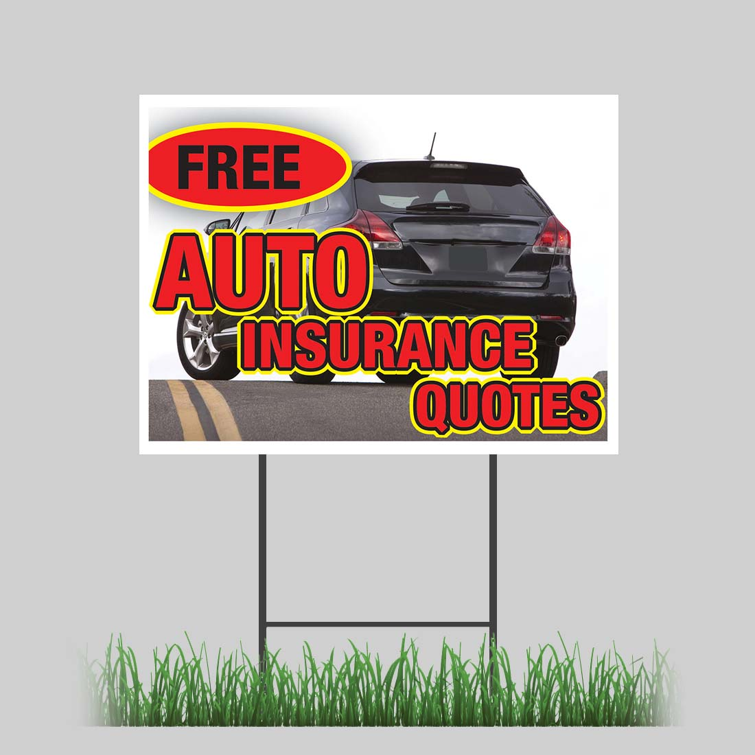 """12""""x18"""" Free Auto Insurance Quotes Yard Sign with Stake ..."""