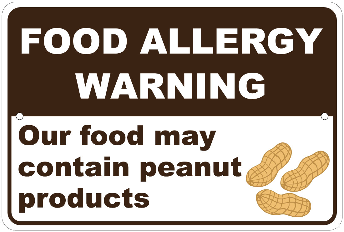 """Food Allergy May Contain Peanut Products Warning 8/""""x12/"""" Aluminum Sign"""